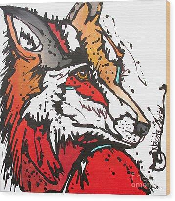 Red Fox Wood Print by Nicole Gaitan