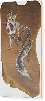 Red Fox On Cherry Slab Wood Print by Jacque Hudson