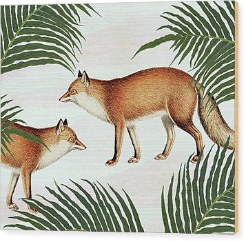 Red Fox Pair Wood Print by Uma Gokhale