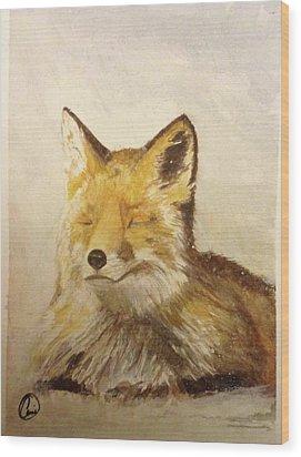 Red Fox Rest Wood Print