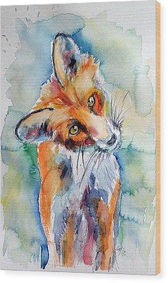 Red Fox Watching Wood Print