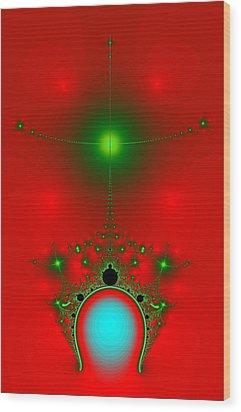 Red Fractal Wood Print by Charmaine Zoe
