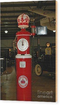Red Gas Pump Wood Print by Kathleen Struckle