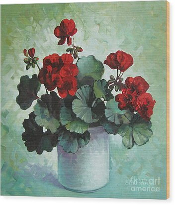 Wood Print featuring the painting Red Geranium by Elena Oleniuc