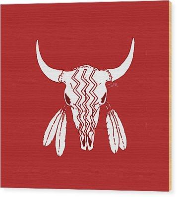 Red Ghost Dance Buffalo Wood Print by Steamy Raimon