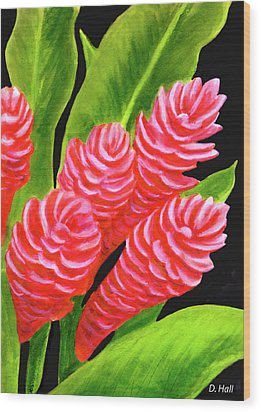 Red Ginger Flowers #235 Wood Print by Donald k Hall