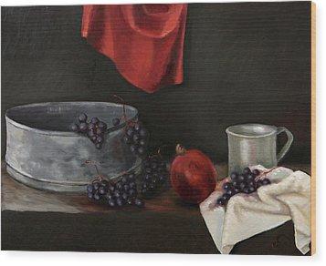 Red Grapes Wood Print by Raimonda Jatkeviciute-Kasparaviciene
