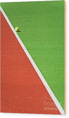 Red Green White Line And Tennis Ball Wood Print