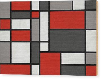 Wood Print featuring the digital art Red Grey Black Mondrian Inspired by Michael Tompsett