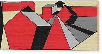 Red, Grey, Cream 2 Wood Print