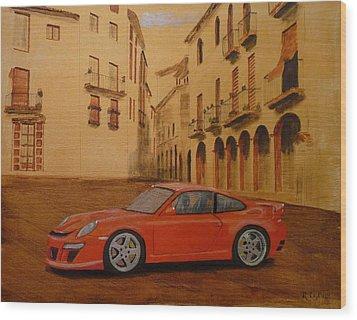 Red Gt3 Porsche Wood Print