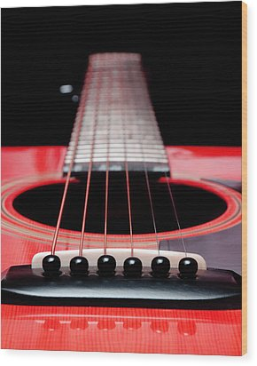 Red Guitar 16 Wood Print by Andee Design