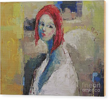 Red Haired Girl Wood Print by Becky Kim