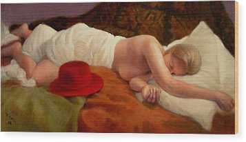 Wood Print featuring the painting Red Hat 7 by Donelli  DiMaria