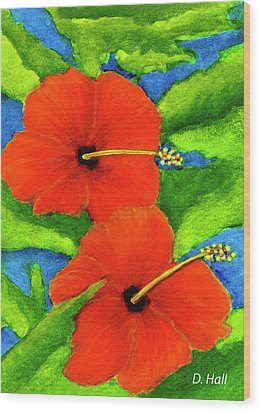Red Hawaii Hibiscus Flower #267 Wood Print by Donald k Hall