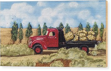 Wood Print featuring the pastel Red Hay Truck by Jan Amiss