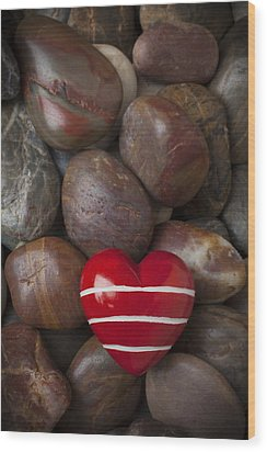 Red Heart Among Stones Wood Print by Garry Gay