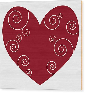 Red Heart Wood Print by Frank Tschakert