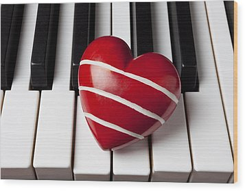 Red Heart With Stripes Wood Print by Garry Gay