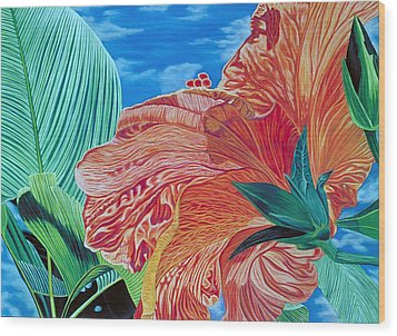 Red Hibiscus And Palms Wood Print by Stephen Mack