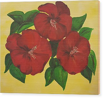 Red Hibiscus Wood Print