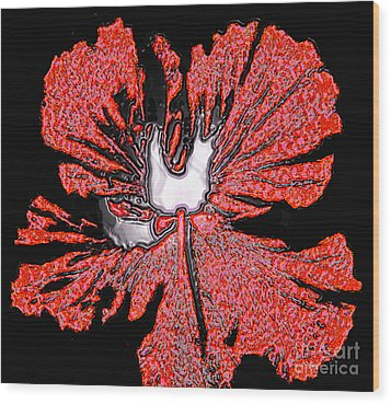 Red Hibiscus Flower In Three Dimensions Wood Print