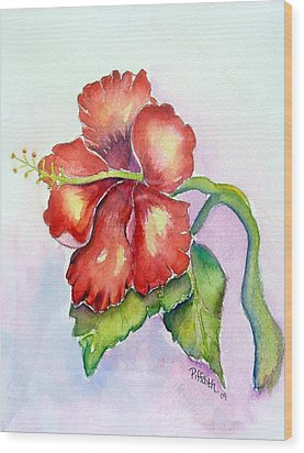 Wood Print featuring the painting Red Hibiscus by Patricia Piffath