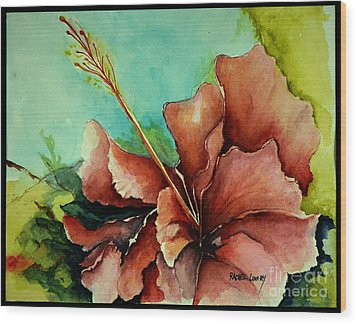Wood Print featuring the painting Red Hibiscus by Rachel Lowry