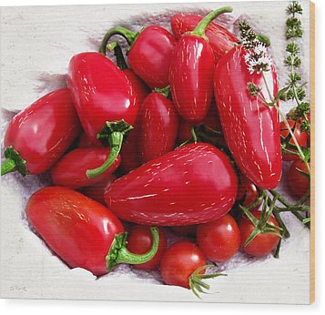 Wood Print featuring the photograph Red Hot Jalapeno Peppers by Shawna Rowe