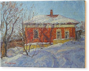 Red House Wood Print by Andrey Soldatenko