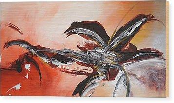 Red Ikebana Wood Print by Theresa Marie Johnson