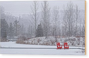 Wood Print featuring the photograph Red In Snow by Charline Xia