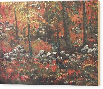 Wood Print featuring the painting Red In The Woods by Dan Whittemore