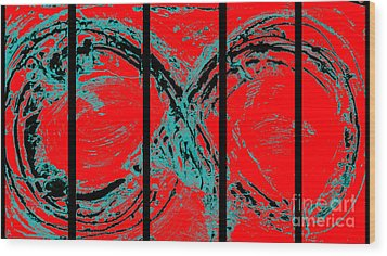 Red Infinity Modern Painting Abstract By Robert R Splashy Art Wood Print by Robert R Splashy Art
