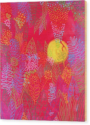 Red Jungle Passionate Sun Wood Print by Jennifer Baird