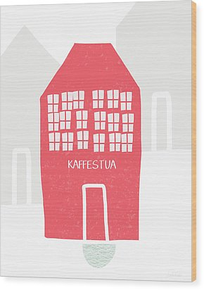 Wood Print featuring the mixed media Red Kaffestua- Art By Linda Woods by Linda Woods