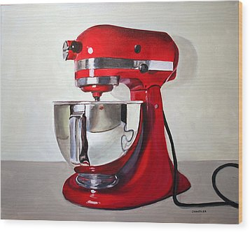 Wood Print featuring the painting Red Kitchen Mixer by Gail Chandler