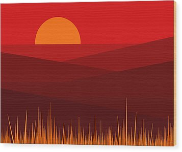 Red Landscape Wood Print