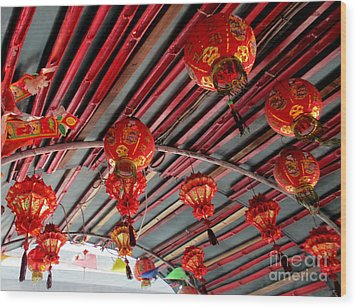 Wood Print featuring the photograph Red Lanterns 1 by Randall Weidner