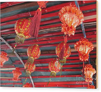 Wood Print featuring the photograph Red Lanterns 2 by Randall Weidner