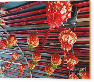 Wood Print featuring the photograph Red Lanterns 3 by Randall Weidner