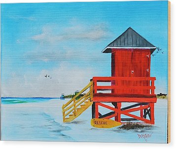 Red Life Guard Shack On The Key Wood Print