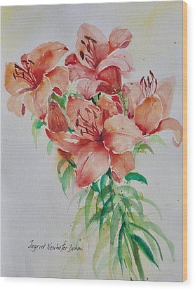 Red Lilies Wood Print by Alexandra Maria Ethlyn Cheshire