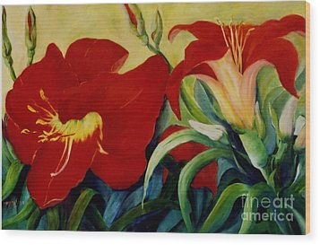 Wood Print featuring the painting Red Lily by Marta Styk