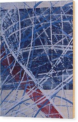 Red Line Blue Line Wood Print by Ken Yackel