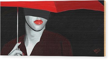 Red Lips And Umbrella Wood Print
