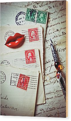 Red Lips Pin And Old Letters Wood Print by Garry Gay