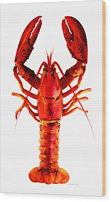 Red Lobster - Full Body Seafood Art Wood Print by Sharon Cummings