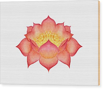 Wood Print featuring the painting Red Lotus by Elizabeth Lock