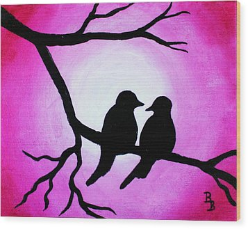 Wood Print featuring the painting Red Love Birds Silhouette by Bob Baker